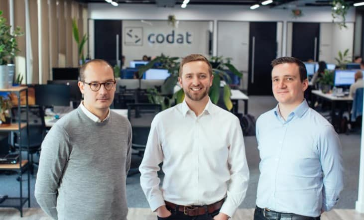 Codat Co-Founders Alex Cardona, Pete Lord and Dave Hoare